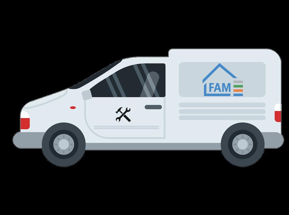 Illustration eines Fahrzeugs der FAM Hausmeisterdienste