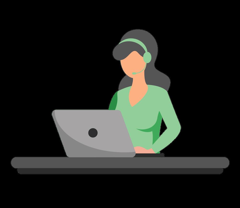 Auszubildende Kauffrau für Büromanagement arbeitet an ihrem Notebook
