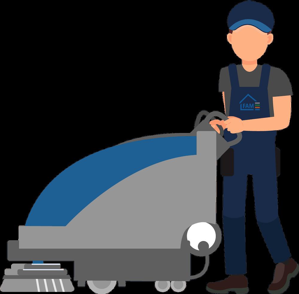 FAM Hausmeister Dienste Mitarbeiter bei der Bodenreinigung