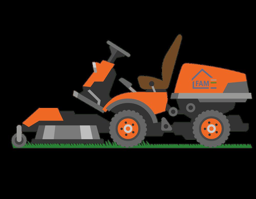 Illustration eines FAM Hausmeister Dienste Rasenmähers